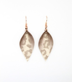 Sweet Three Designs - Rose Gold Leopard Print Leaf Earrings
