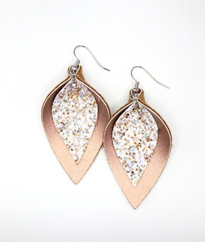 Sweet Three Designs - White Chunky Glitter on Copper Double Leaf Earrings