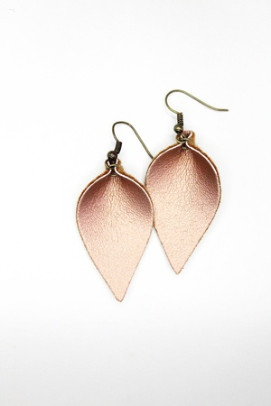 Sweet Three Designs - Copper Leaf Earrings