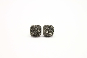 Sweet Three Designs - Charcoal Square Druzy