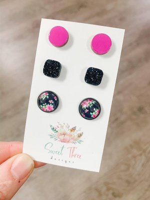 Sweet Three Designs - Black and Pink Floral Variety Trio