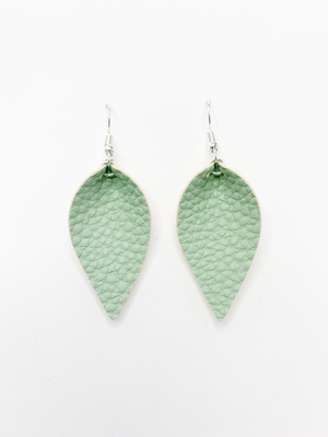 Sweet Three Designs - Textured Sage Leaf Earrings