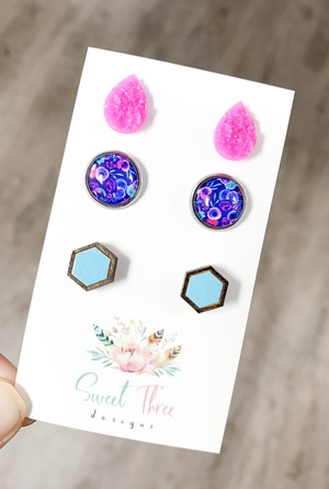 Sweet Three Designs - Blue and Pink Floral Variety Trio