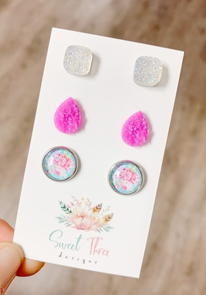 Sweet Three Designs - Aqua and Pink Floral Variety Trio