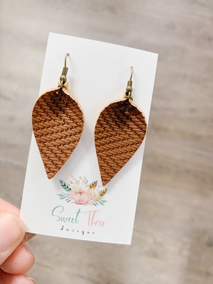 Sweet Three Designs - Rich Brown Woven Leaf Earrings