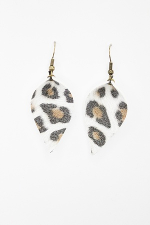 Sweet Three Designs - Soft White Leopard Leaf Earrings