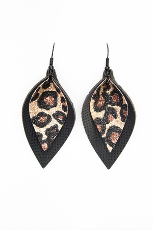 Sweet Three Designs - Sparkling Leopard on Black Double Leaf Earrings