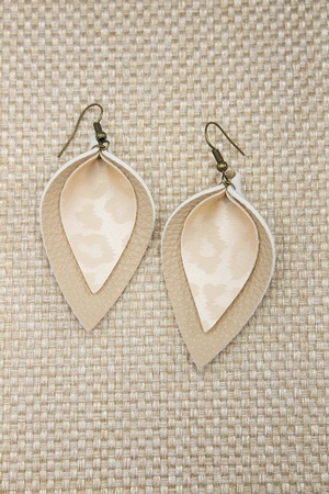 Sweet Three Designs - Cream Leopard Double Leaf Earrings