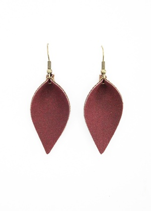 Sweet Three Designs - Bergundy Faux Suede Leaf Earrings