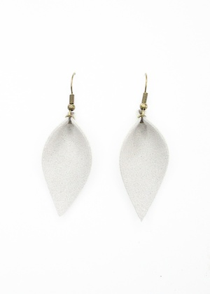 Sweet Three Designs - Gray Faux Suede Leaf Earrings