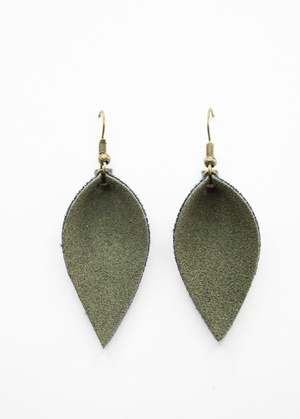 Sweet Three Designs - Army Green Faux Suede Leaf Earrings
