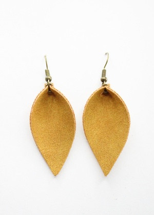 Sweet Three Designs - Yellow Faux Suede Leaf Earrings