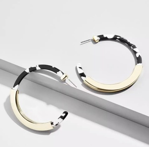 Sweet Three Designs - Black and White Hampton Hoop Earrings