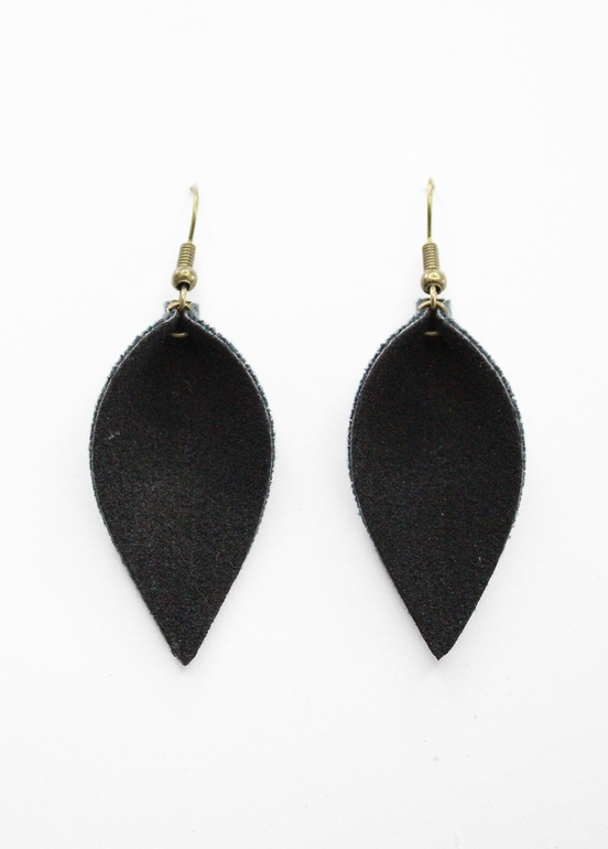 Black Faux Suede Leaf Earrings