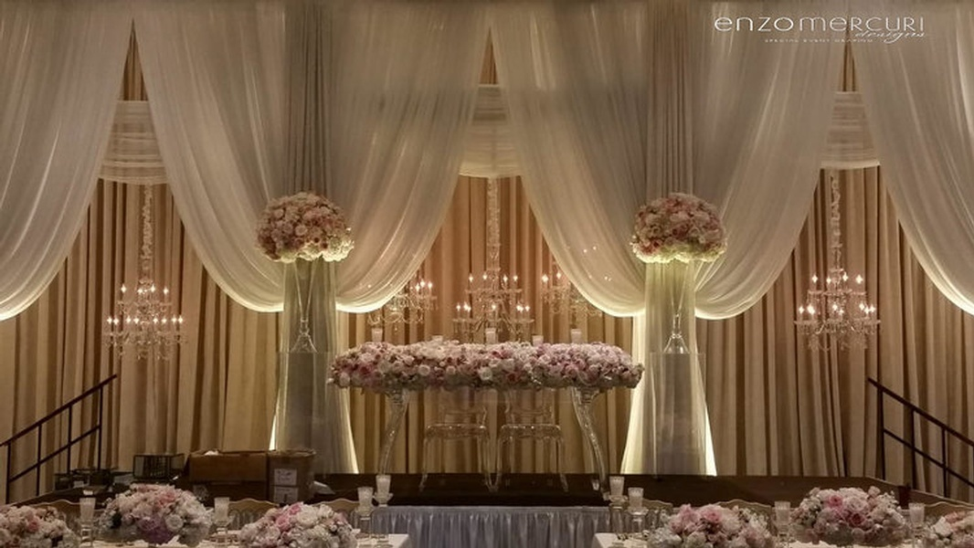 Floral Decorations and Drapery for Wedding Reception by Enzo Mercuri Designs Inc. - Event Decor Company North York