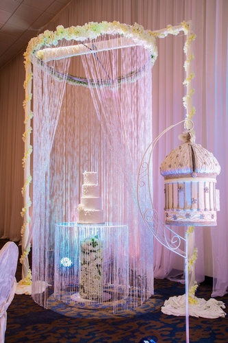 Elegant White Lace Wedding Cake Display - Wedding Decor Mississauga by OMG DECOR