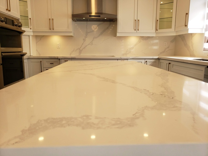 White Granite Countertop - Kitchen Renovation Services Ajax by PCMINC