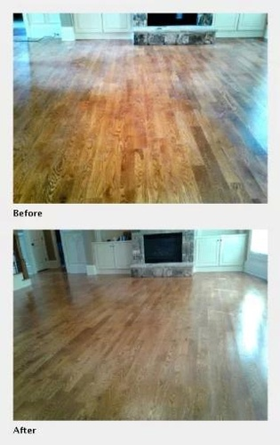Wooden Floor Before and After Cleaning - Floor Cleaning Atlanta by Preferred Carpet Cleaning and Floor Care