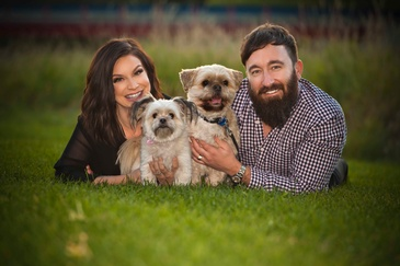 Couple with Puppies - Edmonton Family Photography by Artistic Creations Photography and Video