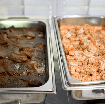 Food kept in Buffet Containers - Catering Services Ontario by Panzarello Catering