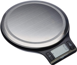 A stainless steel digital kitchen scale