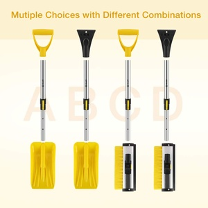 iSiLER Extendable Four in One Snow Removal Kit with Snow Shovel, Ice Scraper, Snow Brush and Squeege