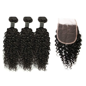 Amberhair Water Wave Human Hair 3 Bundles With Closure Brazilian Virgin Hair 100% Unprocessed Human