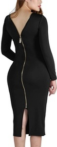 YMING Women's Long Sleeve Bodycon Club Zipper Back Plus Size Sexy Long Dress at Sopro Market - Online Fashion Store Canada