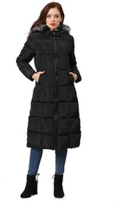 Women Winter Thickened Long Coat White Black Jacket Maxi at Sopro Market - Online Clothing Store Canada