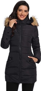 Obosoyo Women's Down Coat Hooded Thickened Long Down Jacket - Online Fashion Store by Sopro Market