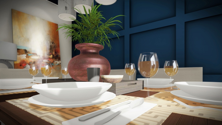 Dining Table 3d architectural rendering - Robinson Design and Drafting