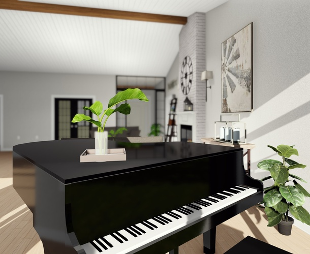 Piano in a room - Interior 3D rendering London by Robinson Design and Drafting -