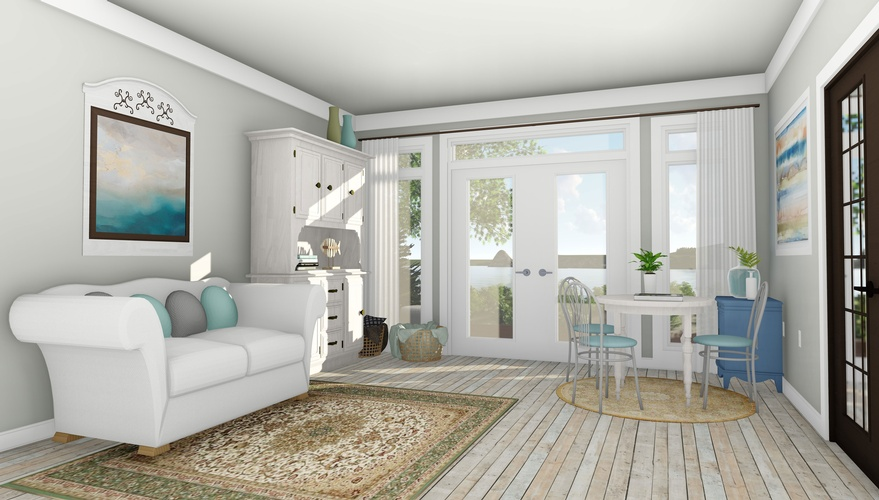 Elegant Living Room Design by Robinson Design and Drafting - Interior 3D Rendering St. Thomas