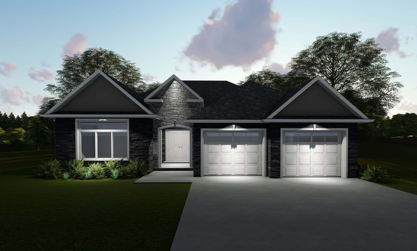 Multi Garage Door Bungalow Design with a wide driveway by Robinson Design and Drafting - 3D Rendering London ON