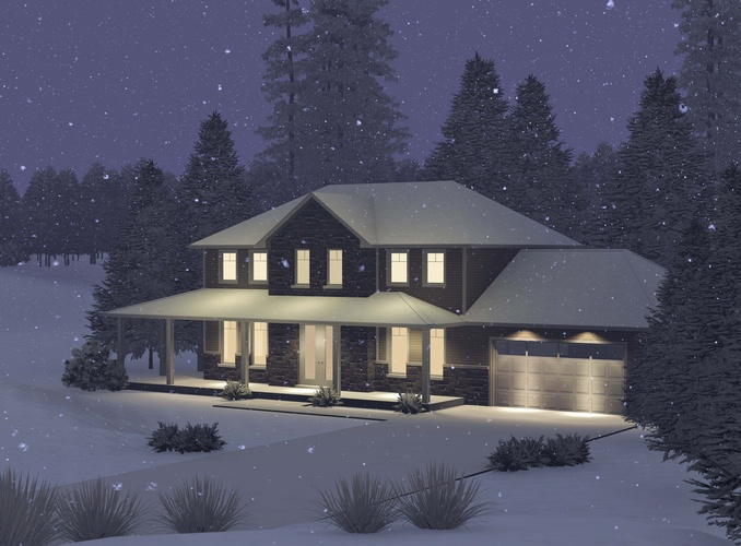 Elegantly lit Bungalow Plan on a snowy night surrounded by coniferous trees - Robinson Design and Drafting