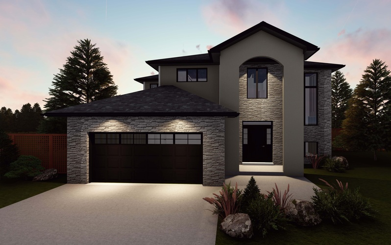 Sunset view of a Garden Centered Bungalow with a garage door - Robinson Design and Drafting