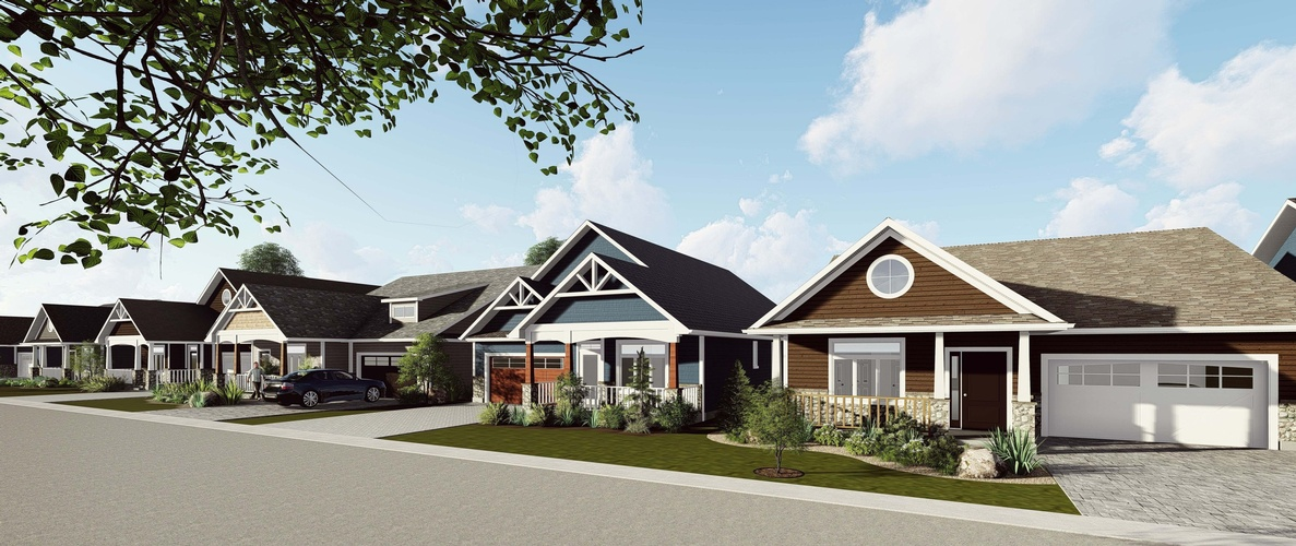 Elegant Row Bunglows beside a highway - 3D rendering London Robinson Design and Drafting