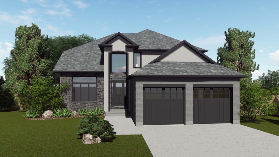 Double Garage Door Garden Bungalow architectural design services London ON - Robinson Design and Drafting