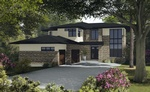 Bungalow with a lawn - Exterior 3D Rendering St Thomas by Robinson Design and Drafting