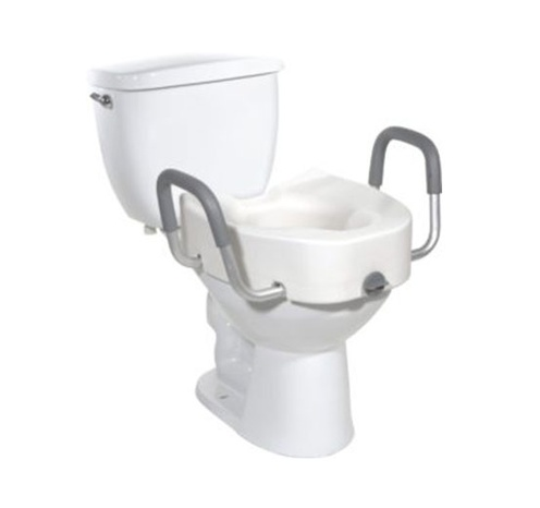 Premium Elongated and Locking Raised Toilet Seat with Arms