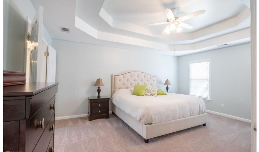 Bedroom with Soft Flooring and Furniture - Interior Decorator Buford at Sage Key Interiors