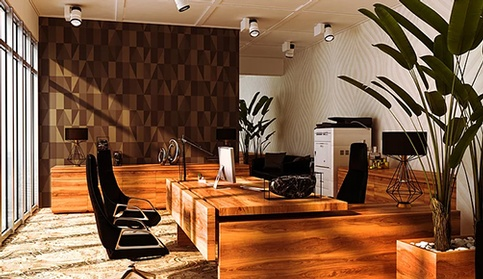 Office with Furniture and Lighting - Commercial Interior Design Services Buford by Sage Key Interiors