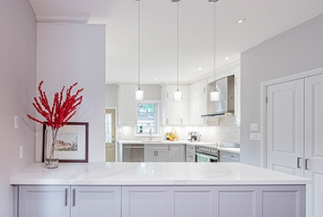 White Lit Kitchen with Countertop - Kitchen Interior Design Kitchener by Lenore Brooks Design