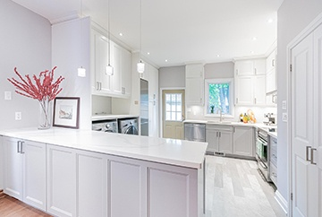 White Modular Kitchen - Kitchen Interior Design Kitchener by Lenore Brooks Design