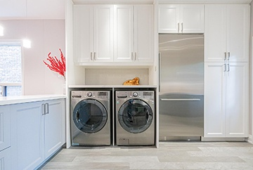 Laundry Room with Cabinets - Home Interior Design Kitchener by Lenore Brooks Design