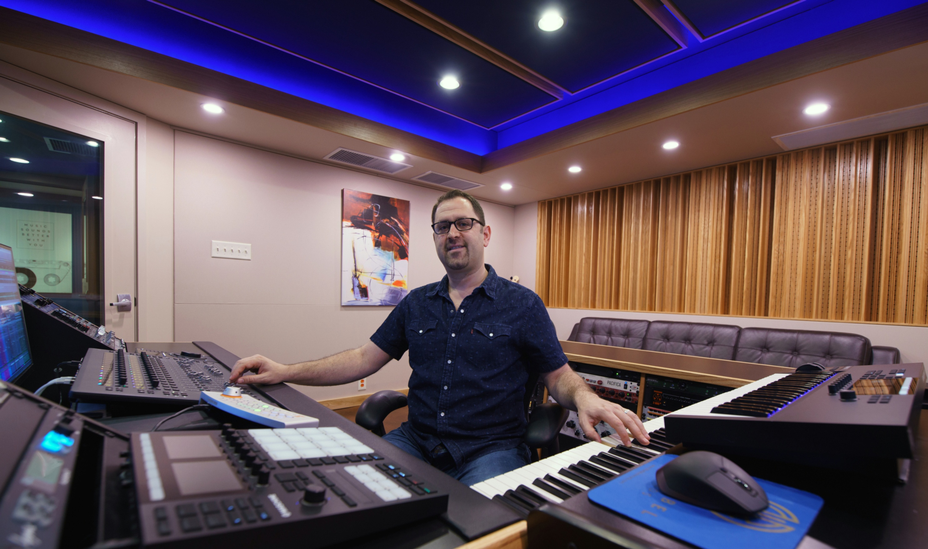Dave Mallen Composing in Control Room - Best Music Recording Studio DC - Innovation Station Music