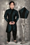 Sophisticated Black & Blue Color Indo Western Sherwani
