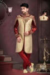 First Impression Chinese Collar Beige Maroon Royal Sherwani