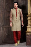 Enhance Your Look With Attractive Lookbrown Color Royal Sherwani