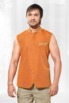 Tangy Orange Color Nehru Jacket